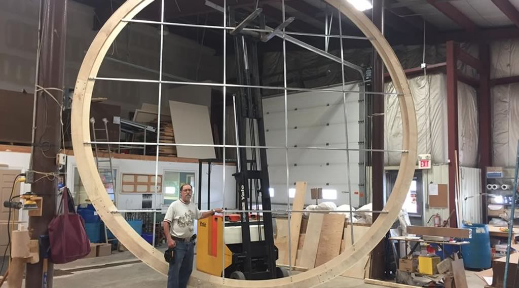 19 foot (5.79 metre) circular stretcher frame with aluminum bracing.