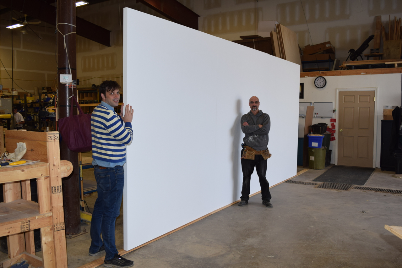 8′ x 18′ custom blank canvas made as a triptych (three canvases attached as one).