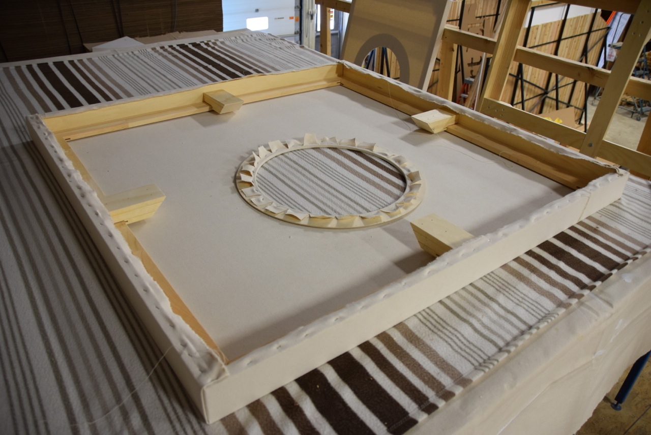 A smaller, circular wooden frame adhered to the back of the first canvas is the basis for stapling the peephole cutout.