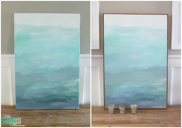 Laura shares her step-by-step tips for creating the ultimate rock-bottom cheap canvas frame. Photo source: The Turquoise Home