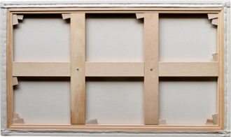 Rear view of canvas stretched on a Professional frame