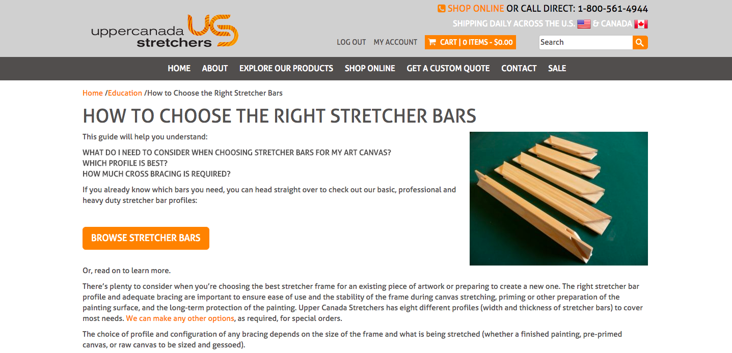 Stretched canvas and stretcher bars of all sizes at Upper Canada Stretchers.