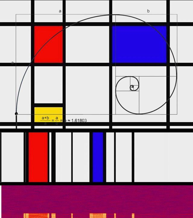 The Golden Spiral gave structure and uniformity to Piet Mondrian's colorful abstract works.