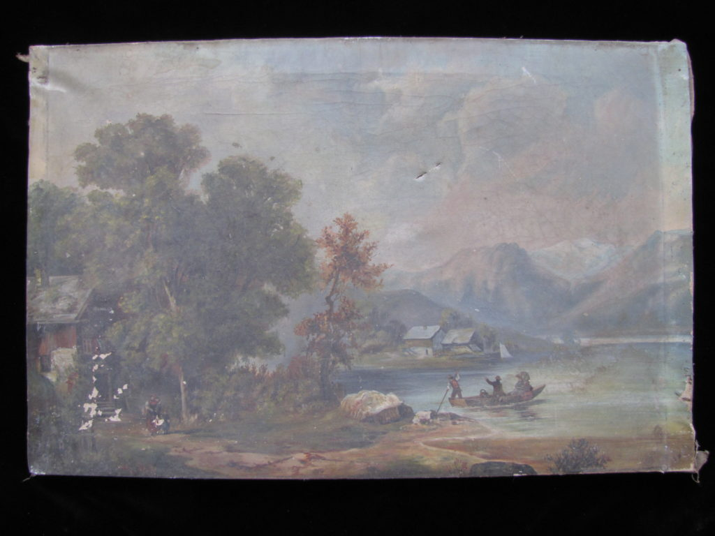 The oil on canvas after removing the frame; note the stretcher marks caused by the flat stretcher bars.